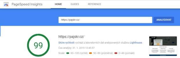 Google Insights rychlost stránek