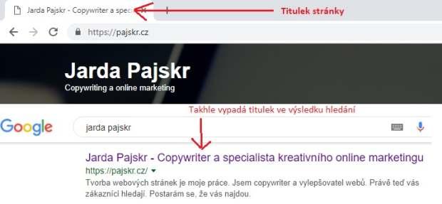 Titulek stránky Jarda Pajskr