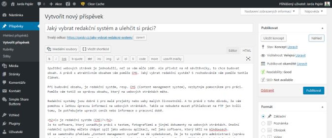 Ukázka administrace redakčního systému WordPress
