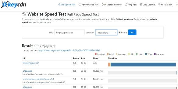 Rychlost webu KeyCDN speedtest