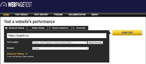 Rychlost webu Webpagetest