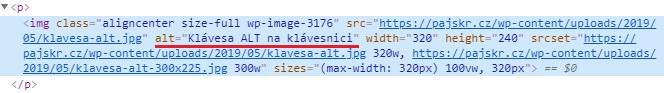 Příklad ALT textu atributu v HTML kódu