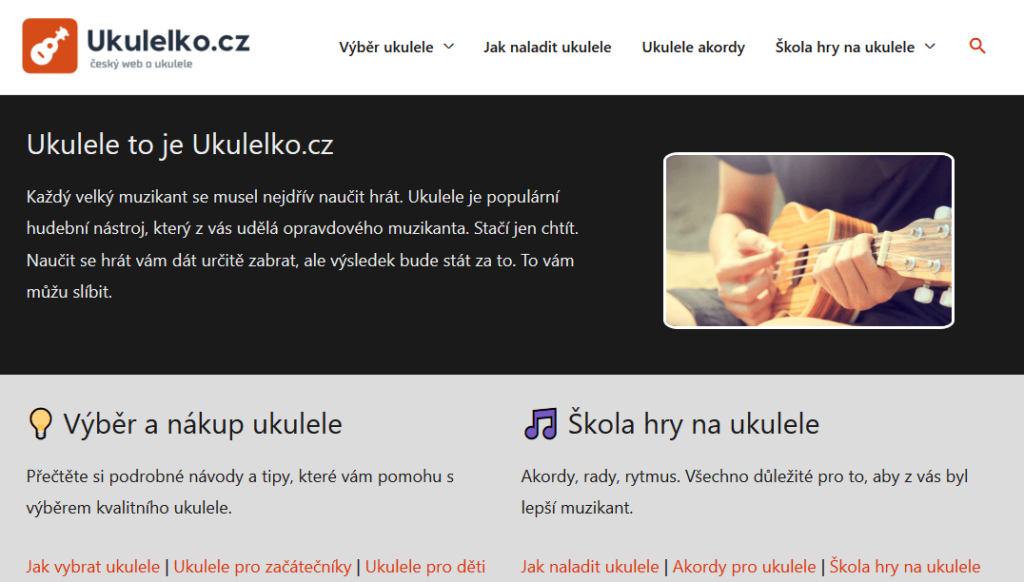 Náhled webu o ukulele Ukulelko.cz