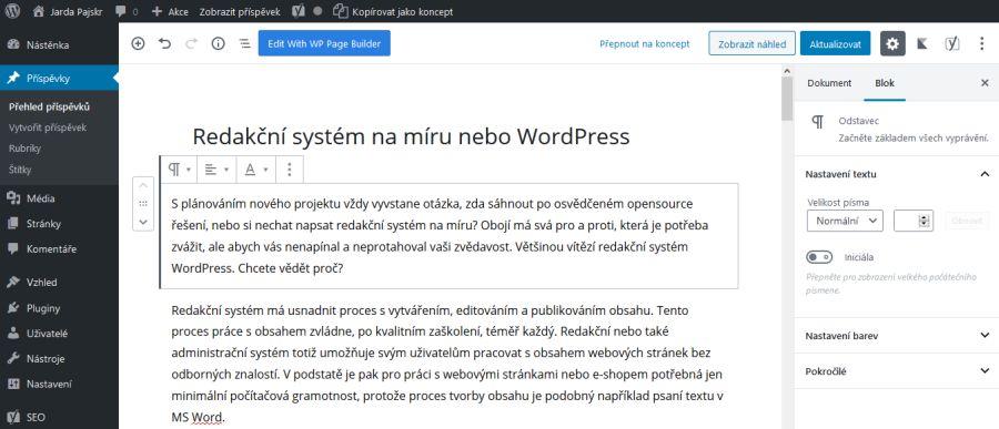 Administrace redakčního systému WordPress