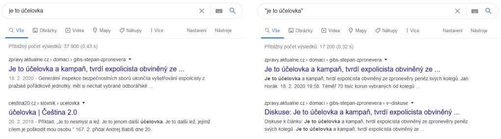 Operátor Google uvozovky